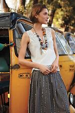 Anthropologie Streaked Light Skirt Sz M, Cotton Sequin A-Line, Little Blue Bird