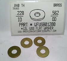 "#12L Flat Washers Solid Brass .228""IDx.562""ODx.040""TH (50)"