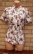 DOLCE DOLCE WHITE BUTTONED PURPLE FLORAL SUMMER T SHIRT TUNIC TOP TOP 18