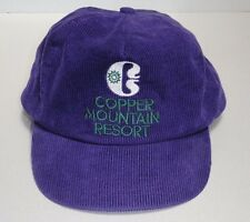Vintage Purple Copper Mountain Colorado Corduroy Hat Cap w/ adjustable strap
