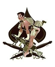 RARE SEXY ACES HIGH MILITARY PIN-UP GIRL VINYL STICKER/DECAL Art by Bawidamann