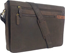 "UNICORN Real Leather 16.4"" laptop bag Netbook Ultrabook Messenger Brown #2G"