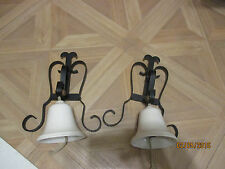 VINTAGE PAIR OF WHITE PORCELAIN BELLS WROUGHT IRON MOUNT COTTAGE DOOR BELL 9X6X4