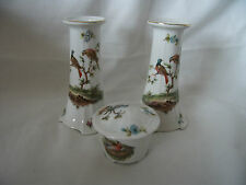 Bargain Pair of Union K Porcelain Candlesticks and Lidded Trinket Pot Ref 1176