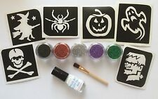 GLITTER TATTOO HALLOWEEN KIT 6 STENCILS/GLITTERS/GLUE SPIDER SKULL PUMPKIN GHOST