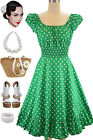 50s Style KELLY GREEN & White POLKA Dots PINUP Peasant On/Off T/Shoulder Dress
