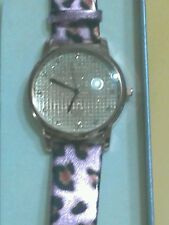 "PINK ANIMAL PRINT LEATHER BAND CRYSTALS FACE WATCH -FITS 6"" TO 9"""
