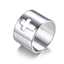 Cross Unique  Anniversary Wedding Ring Band Solid 925 Sterling Silver size8