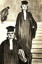 Honore Daumier c1950 - JUDGES on the STEPS of COURT HOUSE - Vintage Print Matted