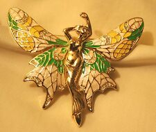 Gorgeous Large Green Yellow White Enamel Fairy Angel in Flight Goldtn Brooch Pin