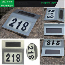 LED Solar Powered House Adress Number Lamp Light Stainless Steel Door Plate