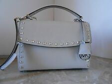 New MICHAEL KORS Ava Stud SMALL Top Handle Leather Satchel $298 CEMENT SILVER