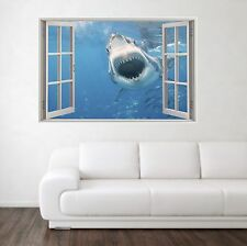 GRANDE Squalo Bianco scena 3d Full Color Finestra Casa Wall Art Decalcomania Murale Adesivi