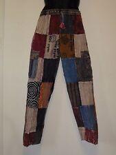 Nepalés stripe Patchwork Algodón Yoga/Salón Pantalones Unisex L (TPW7)