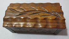 Vintge Hand Carved Wooden Jewelry or Trinket Box Signed