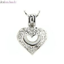 Bulk 5pcs!SWEET HEART Silver Cage pendant necklace for akoya pearl oyster