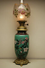 ANTIQUE FRENCH BACCARAT CLOISONNE ENAMEL ART NOUVEAU OLD OIL KEROSENE GWTW LAMP