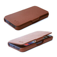 Ultra Slim Genuine Leather Side Open Flip Protective Case For iPhone 5s SE Brown