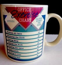 Hallmark Vtg Mug 14 oz Office Exercise Chart Calories 1987 Cup Coffee Tea NEW