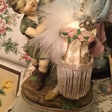 OOAK Victorian Style Bust Ornament, Roses, Beads, Feathers, Fringe, Rhinestones