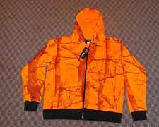 HEAVY THERMAL Blaze Orange Camo Zippered Hooded Sweatshirt  Deer Hunting 4XL