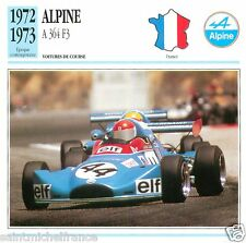 ALPINE  A 364 F3  1972 1973 CAR VOITURE FRANCE CARTE CARD FICHE