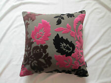"""Luxury Cut Velvet Retro Floral Leaf Chenille Cushion Cover  Pink Black Taupe 18"""""""