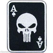 Ace of Spades Skull Punisher Card Casino Game Biker Tattoo Iron On Patches #0339