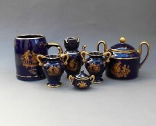 Vintage Collection ~ 6 Pieces ~ Limoges Castel Porcelain ~ Cobalt Blue Fragonard