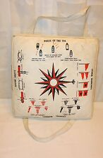Vtg Boat Buoyant Seat Cushion Life Preserver Nautical Decor Rope Knots Compass