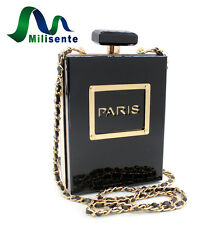 Milisente Clutch Purse Women Black Acrylic Perfume Bottle Chain Crossbody Bag