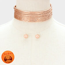 "11"" rose gold metallic multi tier faux choker 10 layer cord necklace earrings"