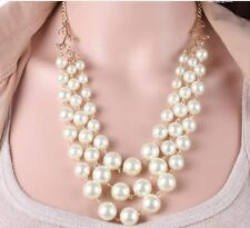 GOLD WEDDING PARTY CREAM  FAUX PEARL 2 TIER GRADUATED LINKED CHAIN NECKLACE SET
