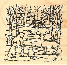 Forest Friends And Manger, Wood Mounted Rubber Stamp NORTHWOODS - NEW, CC6302