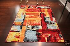 5 x 8 NEW Red Blue Modern Contemporary Floral Orange Yellow Wool Area Rug 5x8