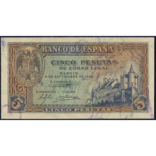 ESPAÑA SPAIN 5 PESETAS - 1940 SIN CIRCULAR - UNCIRCULATED