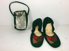 Vintage ETELL Made in Japan Women SLIPPERS Travel Shoes RETRO GREEN -  7 - 7 1/2