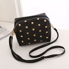 Ladies Fashion Leather Rivet Small Cross Body Shoulder Bag Purse Handbag Tote
