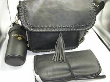 NWT STEVE MADDEN Black Faux Leather Diaper Bag - Bottle Holder & Change Pad $128