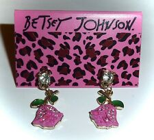 NWT BETSEY JOHNSON CRYSTAL ACCENTED *HOT PINK TULIP ROSE* DANGLE EARRINGS