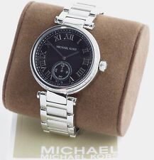 New 100% Auth Michael Kors MK6053 Skylar Black Dial Stainless Steel Watch