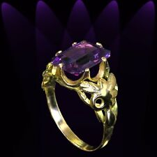 Color-change Alexandrite yellow gold ring size 6 1/4 rings M-F