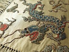 Small Antique Chinese Hand Embroidery DRAGON Silk Panel Doily Peking Forbidden 2