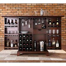 Bar Cabinet Storage Rack Wine Glasses Liquor Bottles Wood Cupboard Living Room