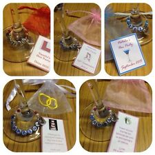 10 x Personalised Wedding / Hen Party Wine Glass Charms, Notes & Organza Bags