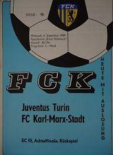 Programm EC 1989/90 FC Karl Marx Stadt - Juventus Turin