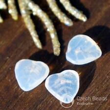 Moonstone White Crystal Czech Glass Leaf Beads Flat Carved Leaves 9mm 30pcs