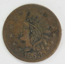 """1863 Antique US Civil War Token CWT Indian Head """"Not One Cent"""" Medal Coin"""