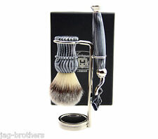 Luxury Shaving Gift Set for Men(shaving brush,mach 3 razor, Steel Holder)