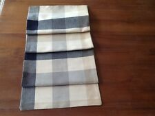 Laura Ashley Mitford Check Charcoal -  Linen Table Runner Fully Lined. New!